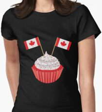 Happy Canada Day Cupcake with Flag Illustration T-Shirt