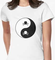 Skull and boes - Yin Yang Art Womens Fitted T-Shirt