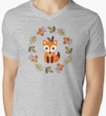 Little Fox with Autumn Berries Men's V-Neck T-Shirt