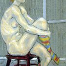 Woman in coloured socks by Fiona O'Beirne