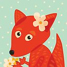 Cute Fox With Flowers by Boriana Giormova