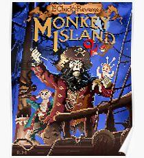 Monkey Island 2 Pixel Art with Logo Title Poster