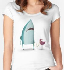 Shark and friend Women's Fitted Scoop T-Shirt