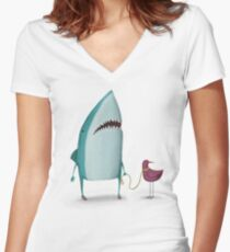 Shark and friend Women's Fitted V-Neck T-Shirt