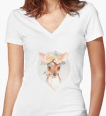 Fawn and yellow roses Women's Fitted V-Neck T-Shirt