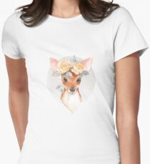 Fawn and yellow roses Womens Fitted T-Shirt