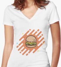 Hamburger Burger Fun Women's Fitted V-Neck T-Shirt