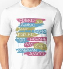Friends From Other Ends - Pink, Blue, and Gold Theme Unisex T-Shirt