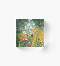 Flower Garden by Gustav Klimt Acrylic Block
