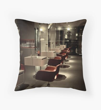 night at the barber Throw Pillow