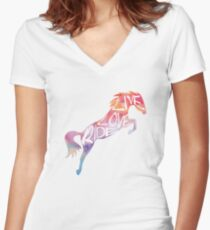 Live Love Ride - Rainbow Horse Women's Fitted V-Neck T-Shirt
