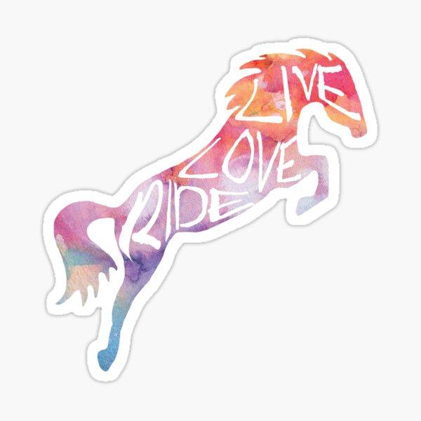 Live Love Ride - Regenbogenpferd Sticker