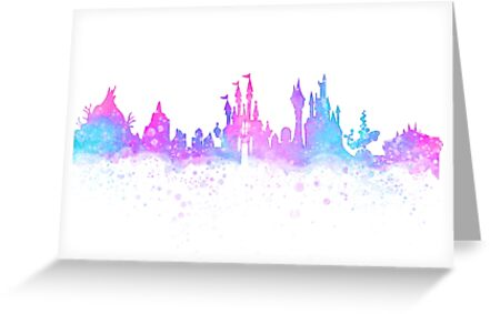 Orlando Florida Theme Park Magic Watercolor Skyline Silhouette by tachadesigns