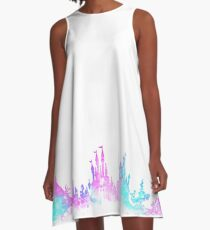 Orlando Florida Theme Park Magic Watercolor Skyline Silhouette A-Line Dress