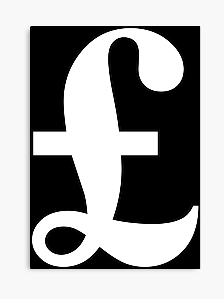 Argent Livre Signe De La Livre Sterling Monnaie Symbole Signe Succes Finances Lucre Blanc Sur Noir Impression Sur Toile