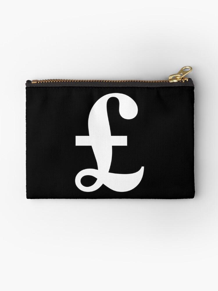 Pochette Argent Livre Signe De La Livre Sterling Monnaie Symbole Signe Succes Finances Lucre Blanc Sur Noir Par Tom Hill Designer