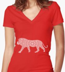 Doodle Lion Women's Fitted V-Neck T-Shirt