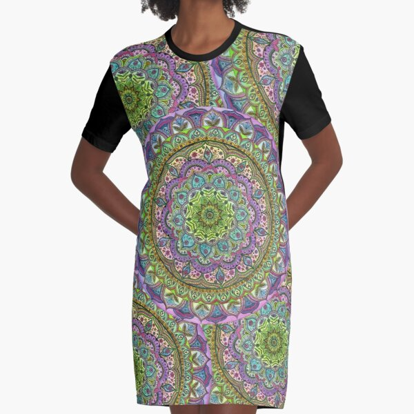 Floral Mandala Graphic T-Shirt Dress