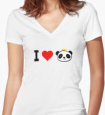 I Love Pandas Crown Women's Fitted V-Neck T-Shirt