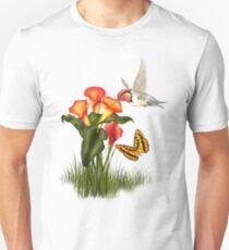 Hummingbird and Calla lilies Unisex T-Shirt