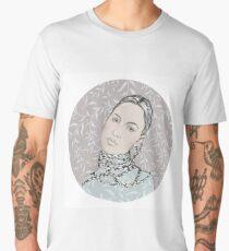 Portrait in a circle  № 1. Beautiful girl with long braids. Men's Premium T-Shirt