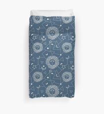 Bohemian seamless pattern with sun, moon, stars and constellation.  Duvet Cover