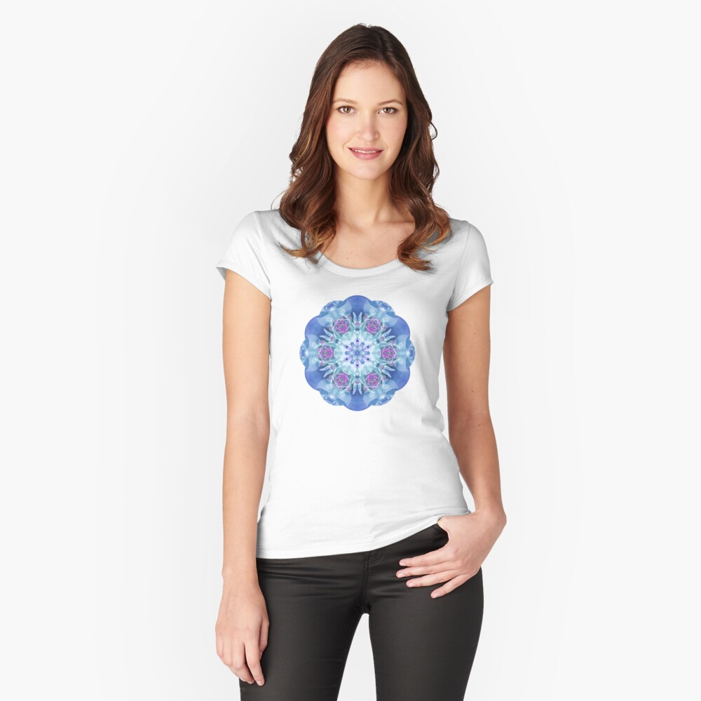 Royal Blue and Purple Mandala Fitted Scoop T-Shirt