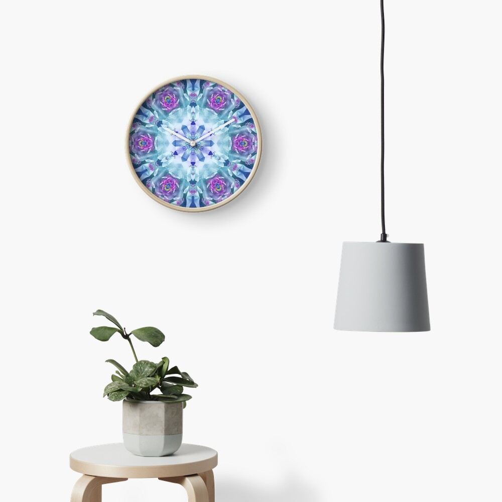 Royal Blue and Purple Mandala Clock