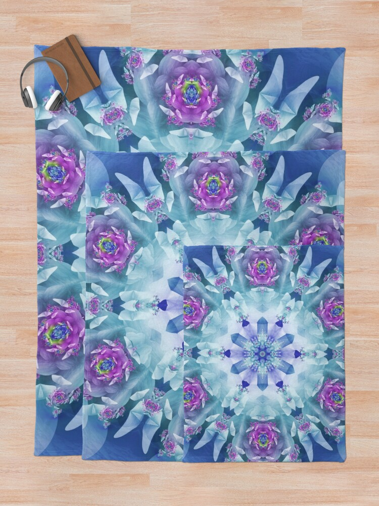 Alternate view of Royal Blue and Purple Mandala Throw Blanket