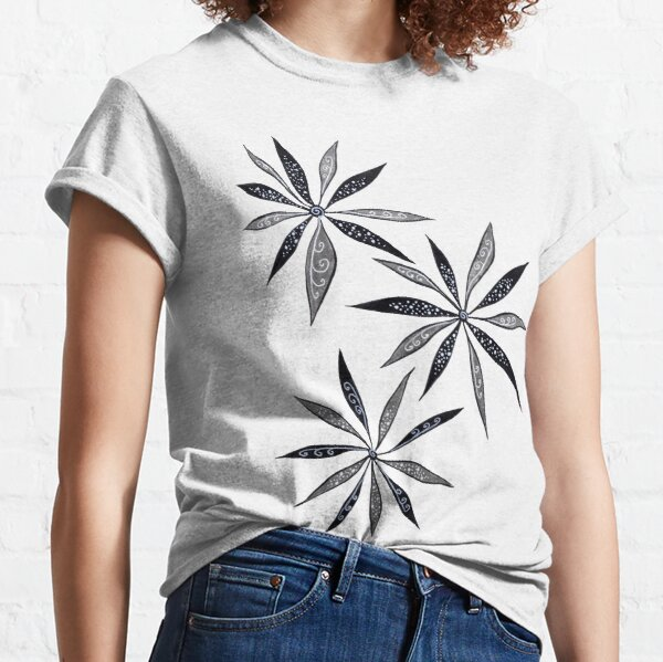 T Shirts Floral Swirls and Curls Big Leaf Blooming Meadow Inspired Retro Style I