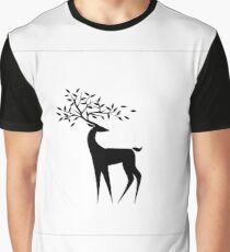 Black deer on a white background with the leaves on the horns Graphic T-Shirt