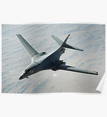 A U.S. Air Force  B-1B Lancer on a combat patrol over Afghanistan. Poster