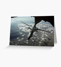 A U.S. Air Force KC-10 refuels a B-1B Lancer over Afghanistan. Greeting Card