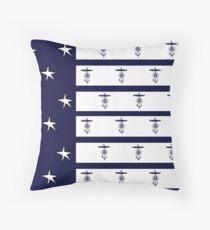 stripes flag anchor, tony fernandes Throw Pillow