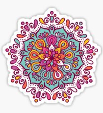 Colorful mandala with floral shapes design Sticker