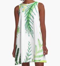 Leafy Print A-Line Dress