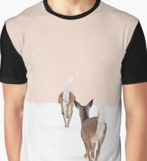 Deer in Winter on Blush Pink Graphic T-Shirt