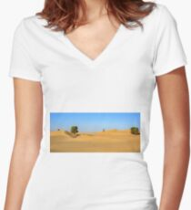 Trees in the ocean of Dunes Women's Fitted V-Neck T-Shirt