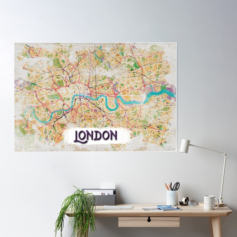 Watercolor Map of London Poster