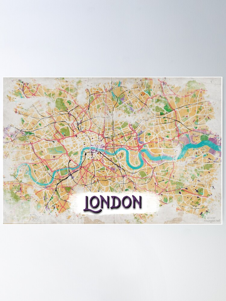 Alternate view of Watercolor Map of London Poster