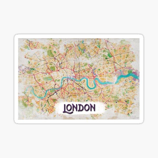 Watercolor Map of London Sticker