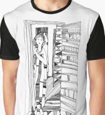 Open doors. Portrait of a girl. Graphics. Graphic T-Shirt