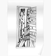 Open doors. Portrait of a girl. Graphics. Poster