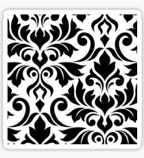 Flourish Damask Art I Black on White Sticker
