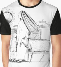 Mother, son and dog. Line art. Graphic T-Shirt