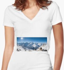 Sunshine in the Alps Women's Fitted V-Neck T-Shirt