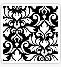 Flourish Damask Art I White on Black Sticker