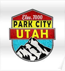 PARK CITY UTAH MOUNTAINS SKIING SKI SNOWBOARD CAMPER BIKE DECAL Poster