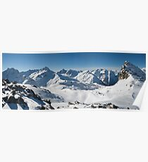 Snowy Peaks of French Alps Poster