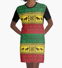 African Traditional Pattern Lions rasta Graphic T-Shirt Dress